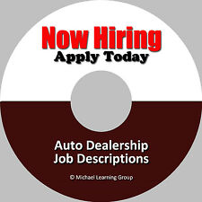 Auto Sales Training - 46 Dealership Job Descriptions eBook on CD
