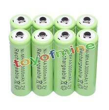 8 AA LR6 3000mAh Ni-MH Rechargeable Battery GREEN P1