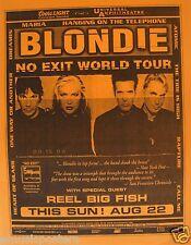 """Blondie 2000 """"No Exit Tour"""" Los Angeles Concert Poster-Debbie Harry,80s New Wave"""