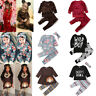 Floral Clothes Toddler Baby Girls Boy Outfits T-shirt+Pants Set Autumn Tracksuit