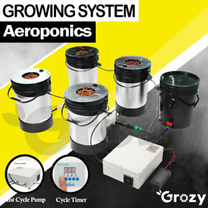 AEROPONICS SYSTEM 5 BUCKETS MIST CYCLE ROOTS GROW LARGE EFFICIENCY HYDROPONICS