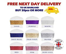 Glitter SEQUIN CHAIR BANDS Sparkling Party Wedding Xmass Decoration Made in UK