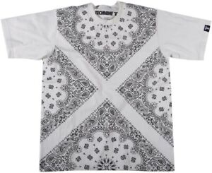 New Technine Mens Bandana Short Sleeve T-Shirt Medium White