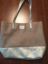 Obagi Purse Overnight Travel Bag Handbag Tote Silver & Brown Synthetic Material