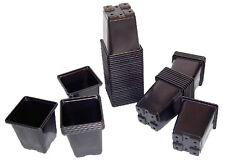 Square Plant Pot 0.75 Litre Strong Black Plastic Hydroponic Grow Pots x 50
