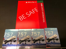 4 New Delta Airlines pilot/trading cards 757-300 #43 With free A320 Safety card