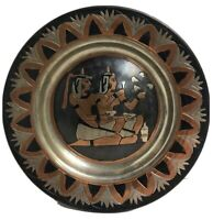 """Vintage Mid East Copper Plate Black Incised Egypt Two Women 7.5"""" Wall Hang Plate"""