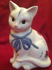 Lenox Poppies On Blue Barnyard Collection Cat Kitten Cookie Jar