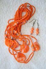 bead necklace earrings silver tone jewelry set orange glass seed