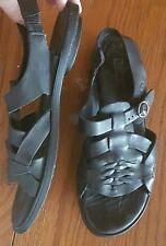 BORN Women's Black Leather Sandals hurricane woven Mexico Size 8 Open Toe Buckle