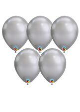 Qualatex Chrome Silver Latex Balloons Pack 5