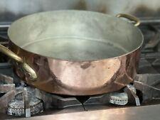 E dehillerin Paris 1895 Copper & Brass Round Roasting Pan RARE HTF THICK & HEAVY