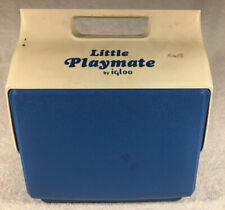 New listing Vintage Little Playmate Cooler Igloo Blue White Push Button 6 Pack Ice Chest E1
