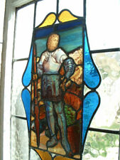 Unusual Vintage stained glass window depicting St George and the Slain Dragon