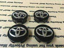 NEW TOYOTA 4 PCS CENTER WHEEL WHEELS HUB HUBS CAP CAPS RIMS 62MM CHROME BLACK
