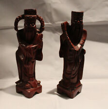 """Pair of Vintage Wood Carved Asian Figurine Bearded Men 9"""" Tall"""