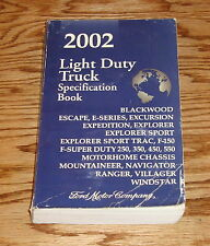 2002 Ford Light Duty Truck Specification Book 02 F-150 F-250 Ranger