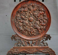 "China Boxwood Wood hand carved Lion Foo dog ""吉祥如意""auspicious statue screen plate"