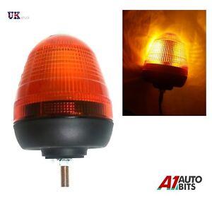 LED FLASHING WARNING BEACON 12V / 24V SINGLE 1 BOLT POINT MOUNT  AMBER ORANGE