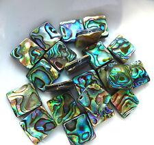 10 pcs rainbow abalone beads paua shell perles carré 14x14, double face