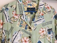 Women's Hawaiian Style Shirt Rayon Large L Coconut Buttons Island Traders