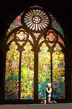 "Stained Glass Window- By Praying- Graffiti by Banksy  24""x36"" Canvas Street Art"