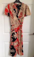 Ladies River Island Orange Print Dress 👗- Size 8 - BNWT