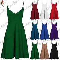 Ladies Womens V Plunge Neck Skater Flared Top Strappy Low Back Plain Swing Dress