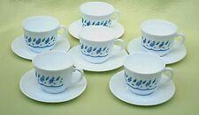 Retro Arcopal France Cup & Saucer Duos x 6 *Pretty Blue & White Petite Floral