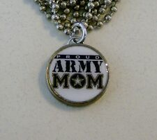 """PROUD ARMY MOM Dime Pendant / Charm Necklace on 24"""" Chain Military"""