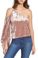 Leith Pink Crushed Velvet Top Cold Shoulder Size M