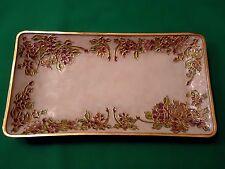 Enameled Brass Tray ~ White Enamel w/ Multicolored Flowers Top & Bottom