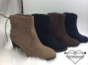 Footwear Sale Women's Anckle Boots Suede Block Heel Lace Up Shoes Size Zip