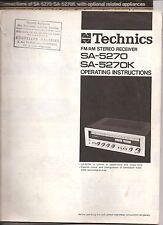 Notice Ampli tuner Technics SA-5270 /K français english deutsch svenska hollands