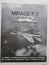 5/1970 PUB AVIONS MARCEL DASSAULT MIRAGE F1 FIGHTER SNECMA ATAR K50 ENGINE AD