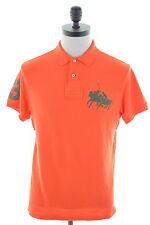POLO RALPH LAUREN Mens Polo Shirt Medium Orange Cotton Custom Fit