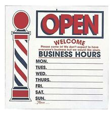LARGE TWO SIDED OPEN CLOSE BUSINESS HOURS SIGN FOR BARBERS HAIR CUT SALON USE
