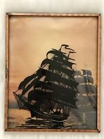 VTg REVERSE PAINTED SILHOUETTE Shadow Picture Sailing Ship Framed Bubble Glass