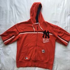 New York Yankees Size L Red Full Zip Baseball Official Jumper Hoodie 100% Cotton