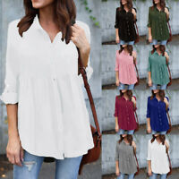 Womens Plus Size Solid Long Sleeve Casual Chiffon Ladies OL Work Top T Shirt