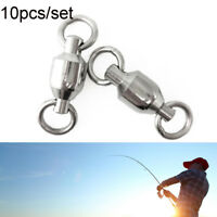 10x Heavy Duty Ball Bearing Barrel Fishing Rolling Swivel Durable Connector~