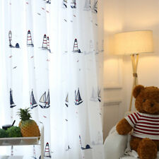 Cartoon Embroidery Sea Sailboat White Voile Child Room Window Sheer Curtain New