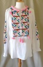 Figue White Embroidered Cotton Long Sleeve Tunic Top Size Medium NWT
