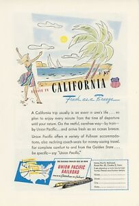 1947 Union Pacific Railroad Ad California Beaches Vintage Travel Vacation Trip