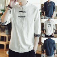 Men's Chinese Retro Floral T-shirt Stand Collar Casual Holiday Beach Blouse Tops