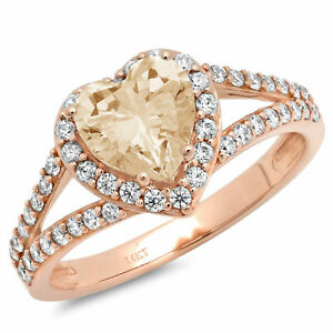 1.75 ct Heart Cut Unique Yellow Moissanite Classic Statement Ring 14k Rose Gold