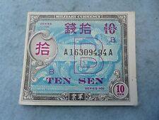 WWII 10 Sen Note Marine Okinawa Invasion Currency Script Army WW2