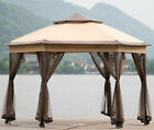 Outdoor Screened Canopy Hexagon Gazebo Tent Mosquito Netting UV Guard Protection