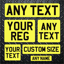 ANY CUSTOM SIZE Self Adhesive REAR Stick on Number Plate Reg Sticker Show Car