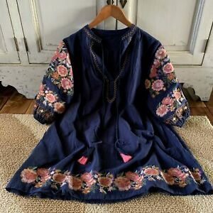XL Boho Embroidered Oaxacan Tunic Top Vtg 70s Insp Navy Blouse Womens XLARGE NWT